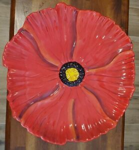 """Stunning Large Red Poppy Hand Painted StoneLite Clay Art Platter 15"""" Flower Tray"""