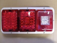 TRIPLE LED'sBargman 84 85 Trailer RV Tail Light Red & Red,BU WHITE Frame ALL LED
