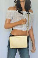 NWT Michael Kors Jet Set East West Saffiano Leather Crossbody Bag Pale Gold