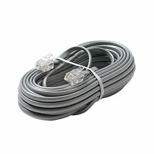 Modular Telephony Cord Rj-11 Male 14 ft Silver telephone Unbranded Generic