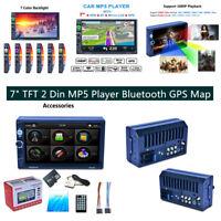 "7"" 2Din Car Stereo Radio Player GPS Nav Bluetooth w/ Free Map of North America"