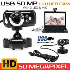 USB 50 Megapixel HD Webcam Web Cam Camera & Microphone Mic 3 LED PC Laptop