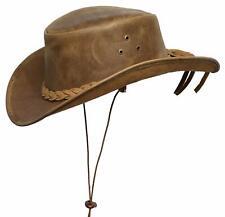 Brandslock Mens Vintage COWBOY Hat Aussie Style Western Bush Hat With Chin Cord