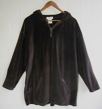 JONES NEW YORK SPORT Women's Jacket Velour Zip Up Hooded Top Brown Size S Cotton