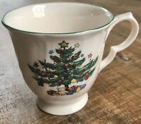 "Nikko Happy Holidays 3.5"" Demitasse Tea Cup Christmas Tree Teddy Bear Footed"
