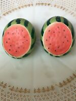 Vintage Ceramic Watermelon Salt And Pepper Shakers