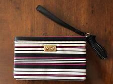 Luv Betsey Johnson Pink Black White Stripe Tassel Wristlet Wallet Clutch NWOT