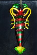 Hand Made Glass Multi Color Airbrushed Lobster Christmas Ornament by Alsan