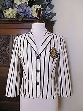 Ralph Lauren White Black Stripe Blazer Jacket M Linen cotton crest $348
