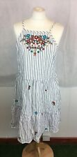 Primark Sz 14 White/Blue Striped Embroidered Floral Pattern Gypsy Peasant Dress