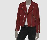 $968 AllSaints Womens Red Suede Leather Zip-Front Biker Moto Jacket Size US 10