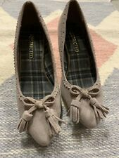 Restricted Women's Taupe Leather Suede Round Toe With Tie-up Pumps Size US 6.5 M