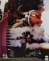 Lamar Miller Autographed Houston Texans 16x20 PF Smoke & Fire -JSA W Auth *White