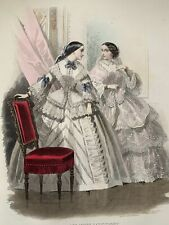 Antique French hand coloured plate from 1856 Les Modes Parisiennes, #691