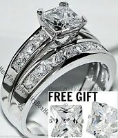 Sterling Silver 14k White Gold Princess cut Diamond Engagement Ring Wedding Set