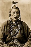 Antique Aboriginal Native FIRST NATIONS Man Photo 1880's 4x6 Sepia Reprint