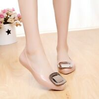 Women's Rubber Flats Slippers Jelly Lady's Point Toe Ballerina OL Casual Shoes