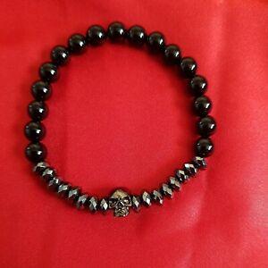 *SALE* Titanium Steel Skull Black Onyx Natural Stone Bead Charm Bracelet