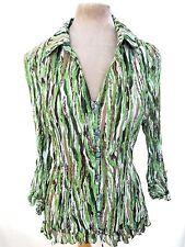 Green Brown White Sheer Crinkle Corcertina Pleat Frilly Ruffle Blouse Shirt XL