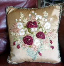 "Gorgeous SILK RIBBON FLOWER Pillow 14"" x 14"""