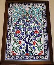 "Framed 19""x27"" Turkish Handpainted Iznik Tree of Life Pattern Tile PANEL MURAL"