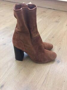 Zara Woman Suede Brown Boots,side Zip, Size EU39, Good Condition