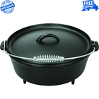 5 Quart Cast Iron Dutch Oven With Handle, Camping Cookware, Duability Easy Grip
