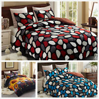 King 3 Pieces Blanket Black Grey Red Yellow Thick Sherpa Warm Quilt Bed Sheet
