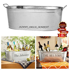 Personalized BEVERAGE TUB Oval Metal Bucket Wine Beer Ice Party BAR COOLER