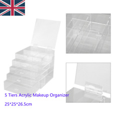 Extra Large 5 Tier Clear Acrylic Makeup Table Drawers Holder Case Box Storage SA