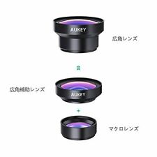 Aukey PL-WD06 Smartphone Camera Lens Kit Clip Type 2in1 From JAPAN
