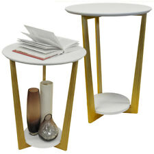 2 PACK - Retro Wood Round Side Table with Shelf - Natural / White ST1704033x2