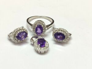 Silver Amethyst Jewelry Set Solitaire 3.2 Ct Natural Amethyst Set