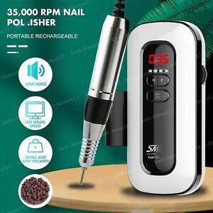 Cordless Electric Nail Drill Machine Portable Recharge File Manicure 35000RPM AU