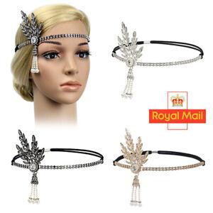 1920s UK Flapper Great Gatsby Headband Pearl Charleston Party Bridal Headpiece Y