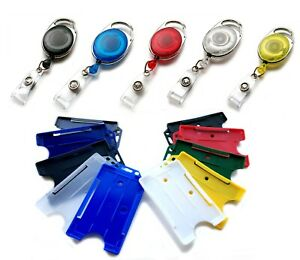 Premier Retractable Badge Reel Holder & Portrait ID Card Badge Holder Free P&P