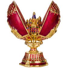 Fabergé Ei mit Kirche des Erlösers auf Blut, Isaakskathedrale Petersburg 7cm rot