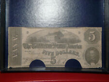1862 The Confederate States Of America $5 Richmond Note (Canceled)