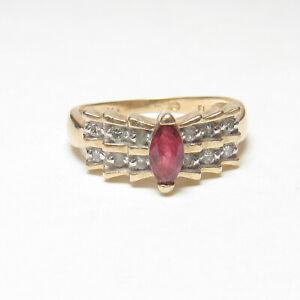 Estate 14K Yellow Gold 0.45 Ct Natural Marquise Wine Red Ruby And Diamond Ring
