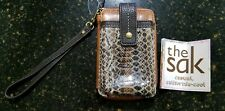 The SAK Brown leather & Snake Zip Around Wristlet Wallet New