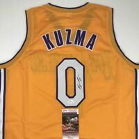Autographed/Signed KYLE KUZMA Los Angeles Yellow Basketball Jersey JSA COA Auto