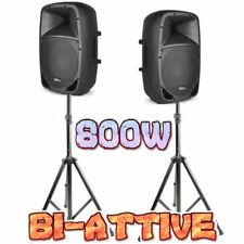 """COPPIA CASSE AMPLIFICATE ATTIVE 800W (10"""") + 2 STATIVI TREPPIEDI COMPACT dj live"""