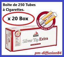 5000 TUBES à Cigarettes avec Filtre de 25 mm. GIZEH SILVER TIP EXTRA. x 20 BOX