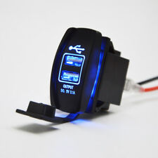 Off-road ATV UTV CAR Truck Dual USB Power Charger Blue Backlit Rocker Switch