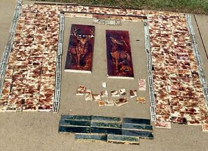 antique NOS Cambridge and Trent ceramic fireplace tiles