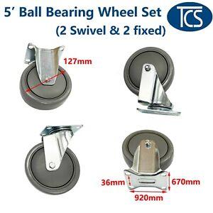 """TCS New 4 x 5"""" Heavy Duty ball bearing Swivel and fixed Castor Wheel set"""