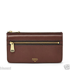 Fossil Original SL5031206 Espresso Preston Flap Clutch Leather Women's Wallet