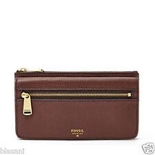 Fossil Original SL5031206 Espresso Preston Flap Clutch Leather Women's Wallet