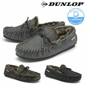Dunlop Mens Moccasin Slippers Faux Fur Lined Comfy Memory Foam Sizes 7-12