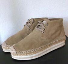 Prada Damen Schuhe Espadrilles Boots 37,5 Beige Braun Wildleder Schnürschuhe 37